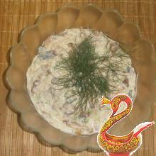 Russian potato salad recipe with herring and mushrooms