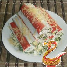"Russian salad with crab sticks ""The Hut"""