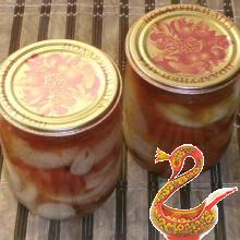 Russian canned tomatoes and onions for the winter