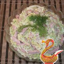 Russian salad from fresh cabbage with sausage