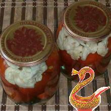 Russian recipe canned tomatoes with cauliflower