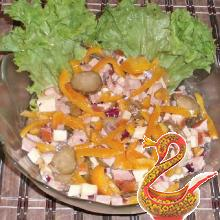 Russian salad with sausage cheese recipe