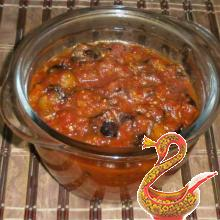 Eggplant stewed with tomatoes and garlic