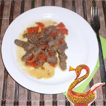 The liver stewed with onions and carrots