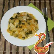 Russian recipe potatoes with zucchini