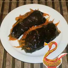 Pickled eggplant stuffed with carrot and garlic