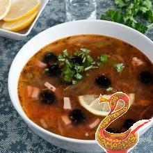 Russian soup Solyanka meat