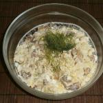 Russian cauliflower salad with butter fish