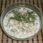 Russian salad fish with rice
